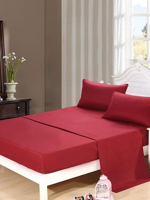 Dreamscape 400TC 100% Cotton Red Sateen Double bedsheet set