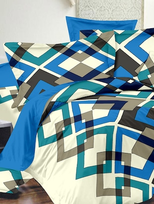 Dreamscape 100% Cotton 220TC Blue  Geometric Double Bedsheet with 2 pillow covers