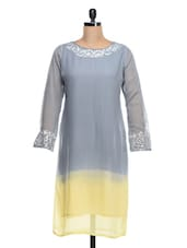 Grey-Yellow Color Block Georgette Kurti - Kokum