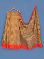 Orange Border Woven Checks Silk Saree - INDI WARDROBE