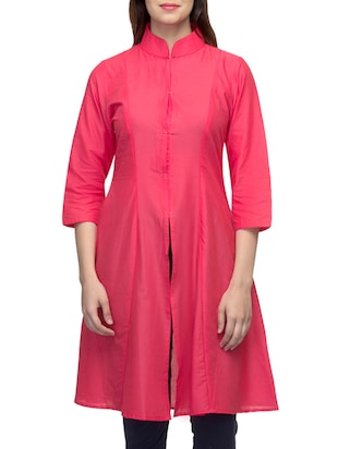 Pink cambric cotton high slit kurta