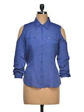 Cut-Out Sleeves Cotton Shirt - Wildrose
