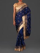 Blue Embroidered Satin Chiffon Saree - By