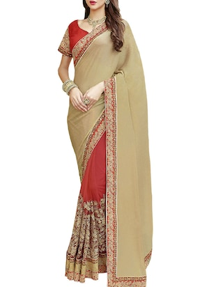 IndianEfashion  Red faux Georgette Embroidery Sarees