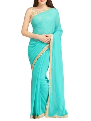 IndianEfashion   Firozi Chiffon White and Gold Pear lace Sarees