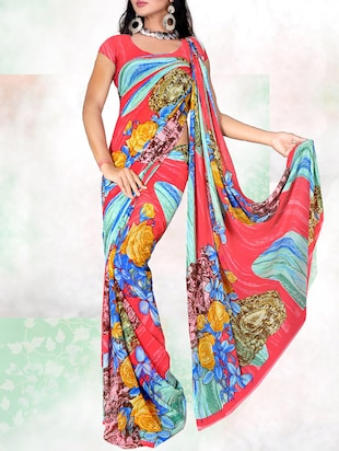 multi colored georgette printed saree