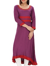 Purple, Red Rayon Highlow Kurta - By