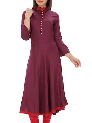 purple plain flared kurta