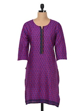 Purple Printed Cotton Kurta - SHREE
