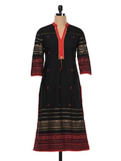 Black Quarter Sleeves Cotton Kurta - SHREE