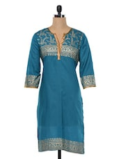 Teal Green Quarter Sleeves Cotton Kurta - SHREE