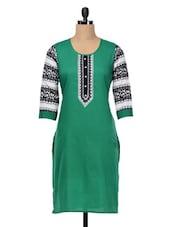 Green Printed Sleeves Cotton Kurta - SHREE