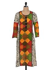 Multicoloured Printed Sleeves Cotton Kurta - SHREE