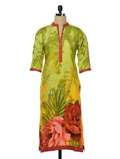 Lemon Green Floral Print Cotton Kurta - SHREE