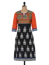 Black & Orange Printed Cotton Kurta - SHREE