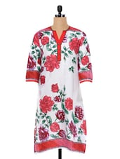 Rose Printed Everyday Cotton Kurta - SHREE