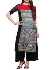 Black Poly Rayon Regular Kurta - By