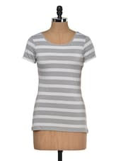 Grey & White Striped Poly Knit Top - KAXIAA