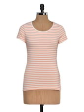 Round Neck Striped Poly Top - KAXIAA
