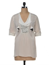 Overlap Embroidered Yoke Tunic - Saiesta