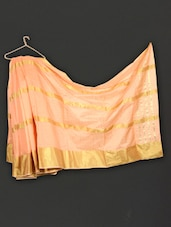 Orange Striped Art Silk Saree - WEAVING ROOTS