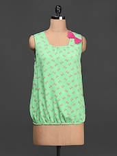 Green Bow Embellished Printed Crepe Top - LA ARISTA