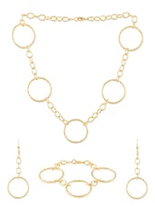 Golden Metal Alloy  Necklace Set - Siyora
