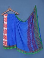 Printed Blue Georgette Saree - Saraswati