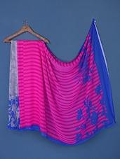Stripes With Floral Silhouette Print Georgette Saree - Saraswati