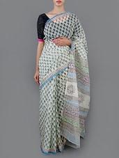 Floral Printed Cotton Saree With Blouse - Jaipurkurti.com