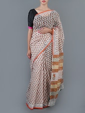 Floral Printed Cotton Saree With Blouse - Jaipurkurti.com - 1019859