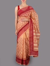 Printed Cotton Saree With Blouse - Jaipurkurti.com