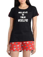 Selfie Quoted Cotton Shorts Set - Nite Flite