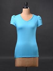 Blue Short Sleeve Cotton Tees - Fashionexpo