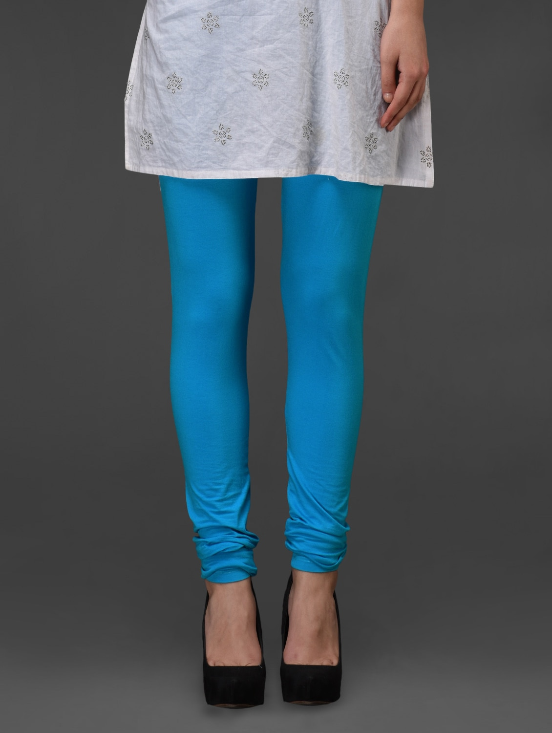 Turquoise Plain Cotton Churidar - Fashionexpo