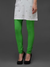 Green Plain Cotton Leggings - Fashionexpo