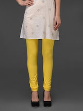 Yellow Plain Cotton Leggings - Fashionexpo