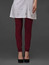 Maroon Plain Cotton Leggings - Fashionexpo