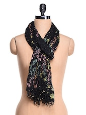 Multi Color Block Printed Black Dupatta - Rainbow Hues
