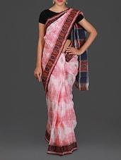 Pink And White Handwoven Ikat Cotton Saree - Spatika Sarees