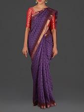 Violet Hand Block Printed Maheshwari Silk Cotton Saree - Spatika Sarees