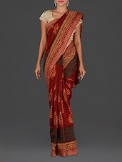 Brown Hand Block Printed Maheshwari Silk Cotton Saree - Spatika Sarees