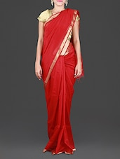 Red Maheshwari Silk Cotton Saree - Spatika Sarees