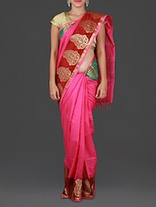 Pink Kanchi Silk Cotton Saree - Spatika Sarees
