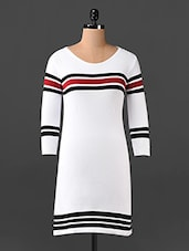 White Striped Dress - Northern Lights