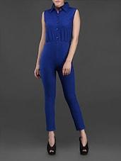 Blue Shirt Collar Jumpsuit - Northern Lights