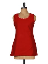 Red Sleeveless Cotton-Viscose Kurti - Sutee