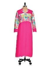 Pink Printed Cotton Rayon Long Kurtis - Aamii