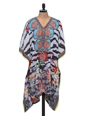 Multicoloured Printed Georgette Kaftan Kurti - SATTYAA