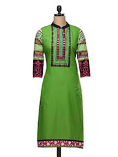 Green & Red Printed Cotton Kurta - SATTYAA